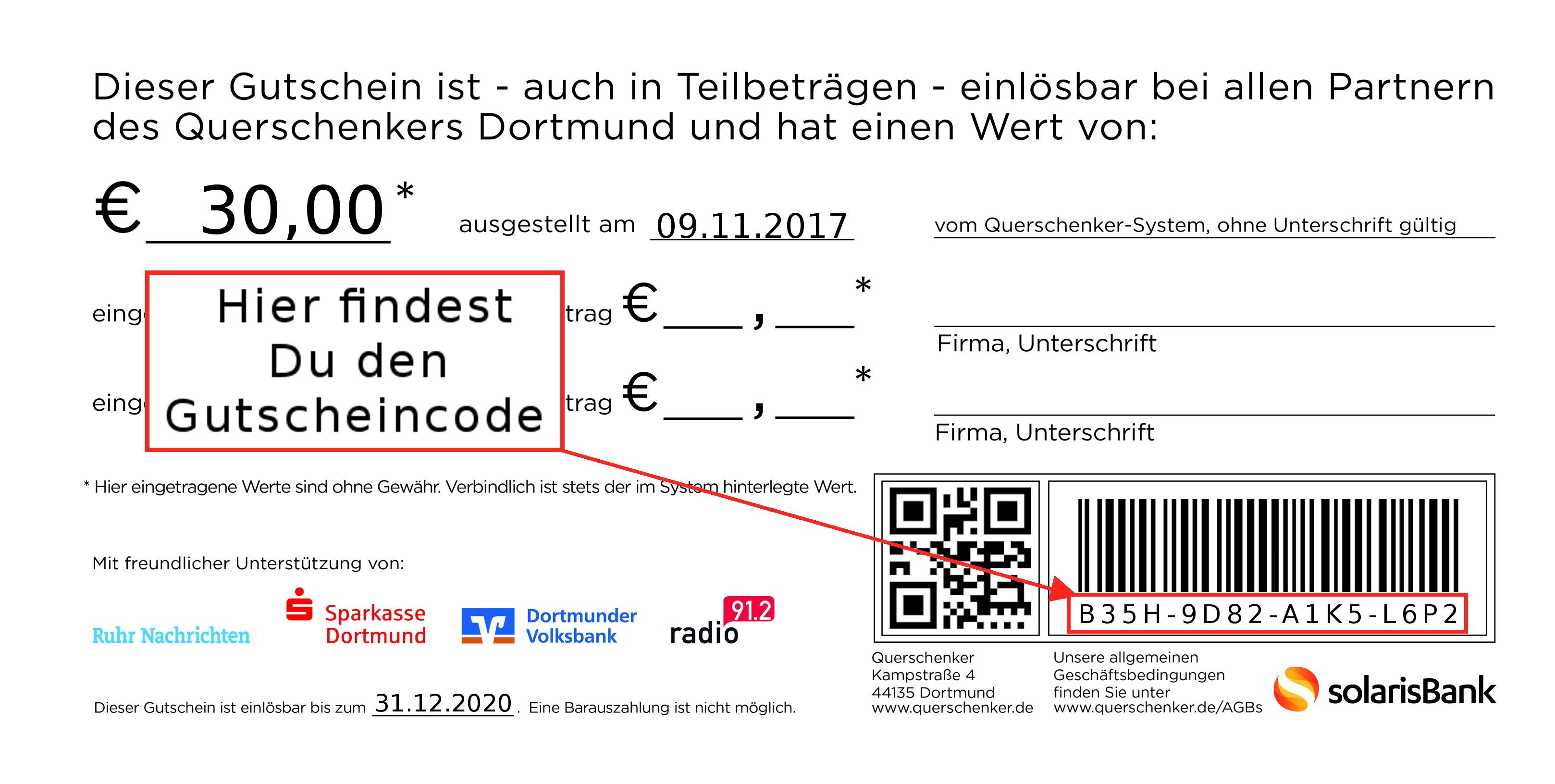 Querschenker Gutschein Dortmund Aktivieren