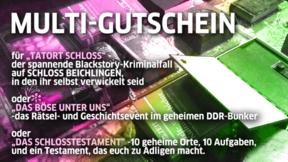 Multigutschein DDR-Bunker / Schlossrätsel / Tatort Schloss